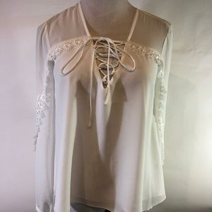 Haute Hippie Lace Up Swan Top XS New